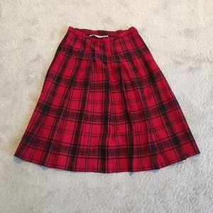 Ladies Black and Red Wool Plaid Pleated Skirt